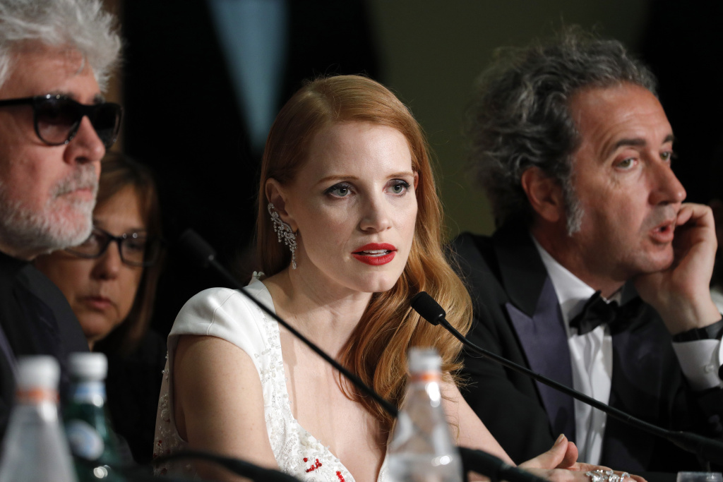 President of the jury Pedro Almodovar and jury members Jessica Chastain and Paolo Sorrentino attends the Palme D'Or winner press conference during the 70th annual Cannes Film Festival at Palais des Festivals on May 28, 2017 in Cannes, France. This year Chastain's female-lead spy thriller, '355,' was a hit at the festival.