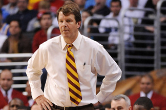 Head coach of the USC Trojans, Tim Floyd, watches game action against the UCLA Bruins in the Pacific Life Pac-10 Men's Basketball Tournament at the Staples Center on March 13, 2009 in Los Angeles, California.