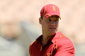 Head coach Lane Kiffin looks on during the USC Trojans spring game on May 1, 2010 at the Los Angeles Memorial Coliseum in Los Angeles, California.