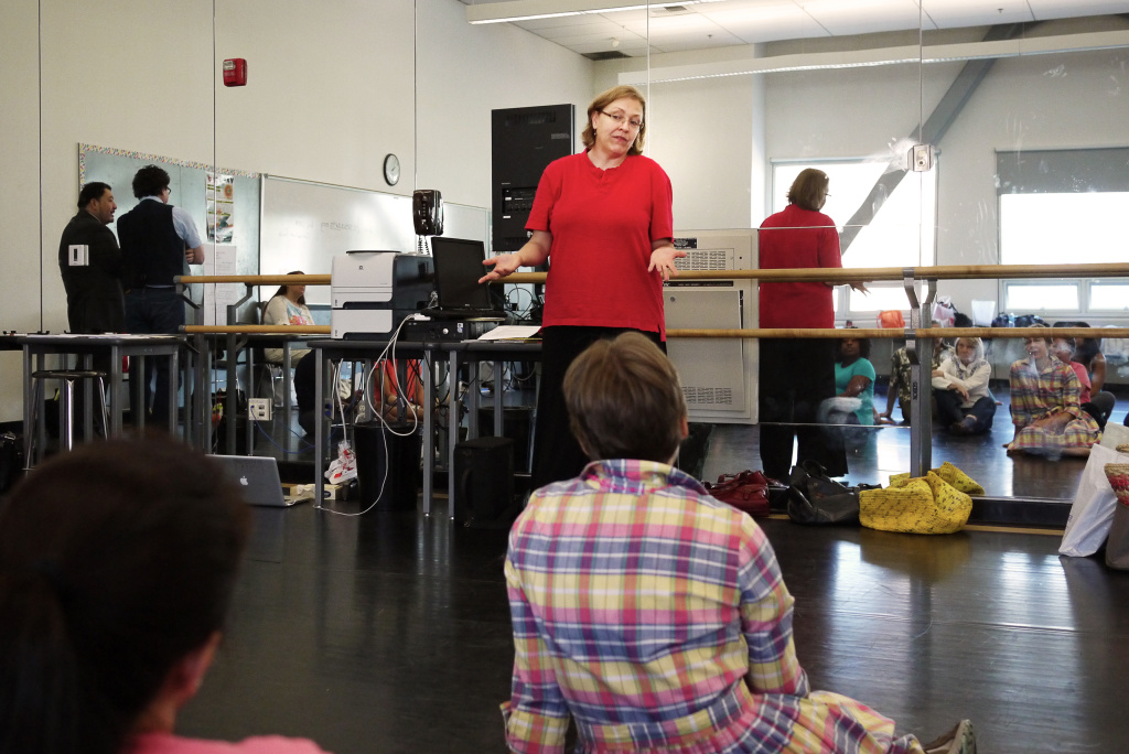 Shana Habel, Los Angeles Unified's Dance Demonstration Teacher, leads a class of teachers at Cortines high school during a training in summer 2013.