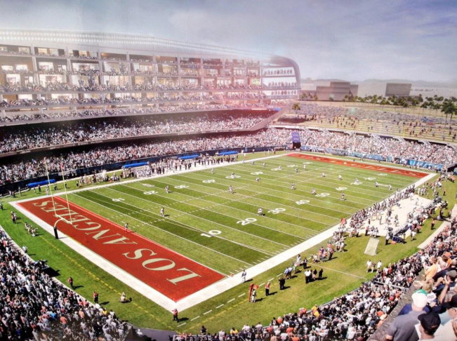 A rendering of he new stadium and complex to be built near the Forum in Inglewood was released by the Hollywood Park Land Company, Kroenke Group and Stockbridge Capital Group in January.