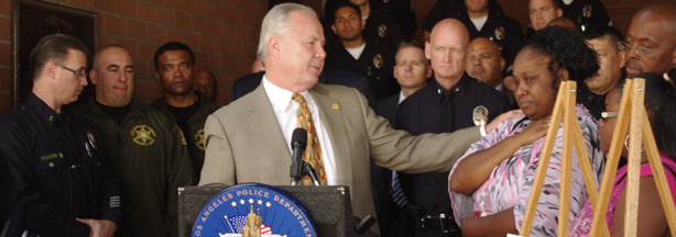 Councilman Tom LaBonge at a press conference where LAPD announced arrests of multiple suspects in shooting death of 22-year-old Lorenzo Smith.