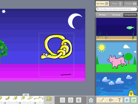 A screen shot of the drawing app DoInk. The app is recommended by arts teachers in their podcast aRTs Roundtable.