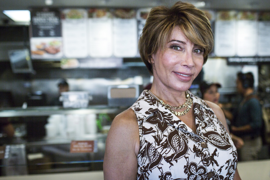 Michaela Mendelsohn is a transgender activist, public speaker and businesswoman. Mendelsohn stands inside an El Pollo Loco franchise she owns on South Western Avenue at Venice Boulevard on Wednesday afternoon, July 14, 2016.