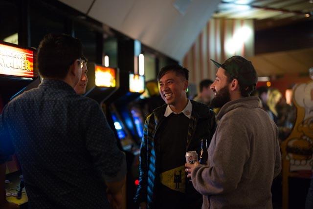 Nguyen Tran socializes in his Echo Park restaurant, Starry Kitchen.