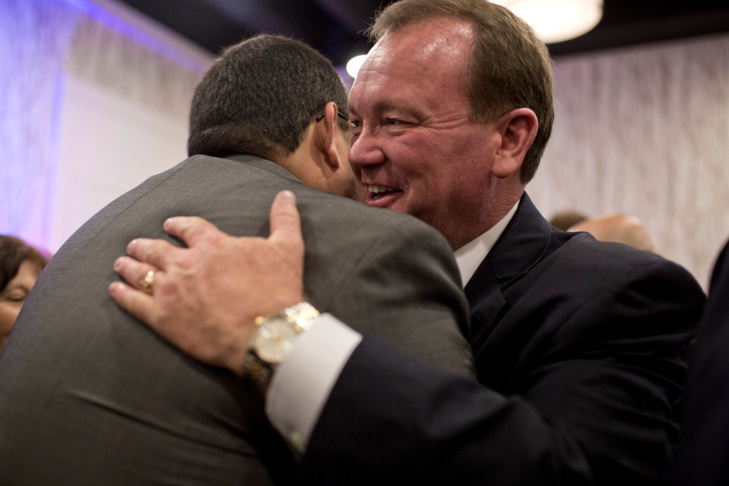 Los Angeles County Sheriff candidate Jim McDonnell greets supporters at his election gathering at the JW Marriott in downtown Los Angeles on Tuesday night, June 3.