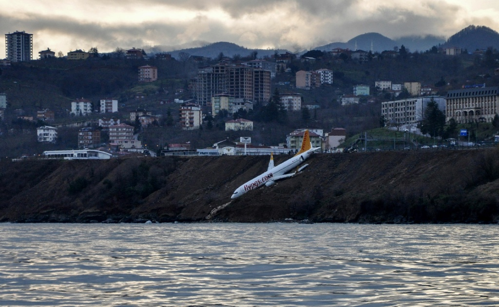 A Pegasus Airlines Boeing 737 passenger plane is seen struck in mud on an embankment, after skidding off the airstrip while landing at Trabzon Airport in Turkey on January 13, 2018.