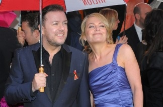 Host Ricky Gervais and Jane Fallon arrive at the 67th Annual Golden Globe Award on Jan.17, 2010 in Beverly Hills. Gervais is once again hosting this year's Globes.