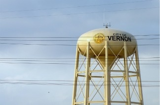 A water tower over the City of Vernon, California.