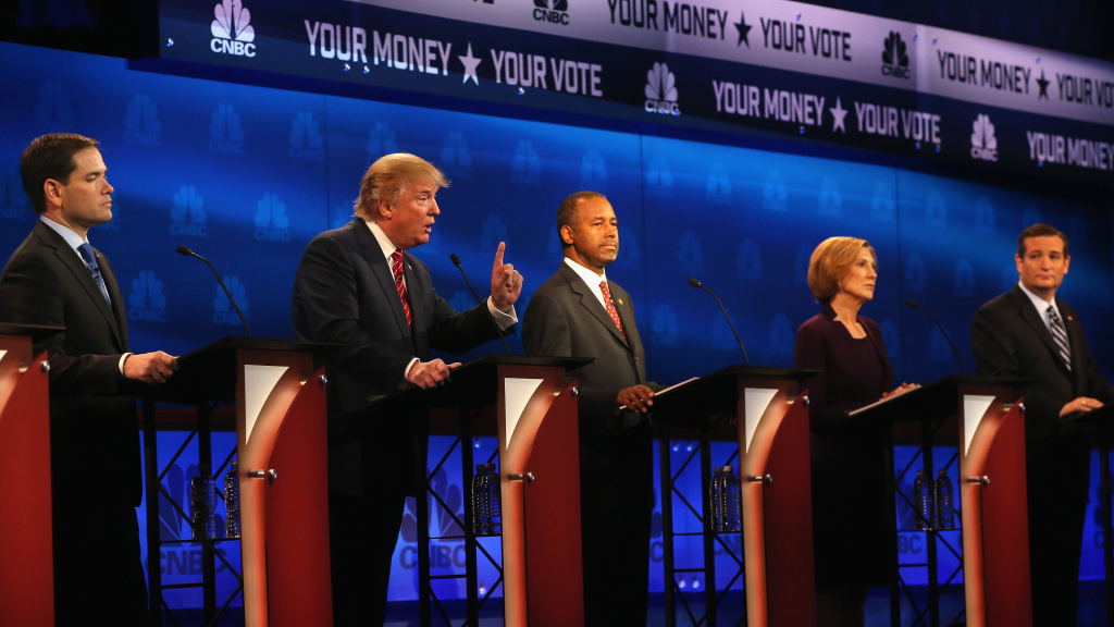 Candidates appear at the third GOP debate last week in Boulder, Colo. There were many complaints from the campaigns about the performance of the moderators from CNBC.