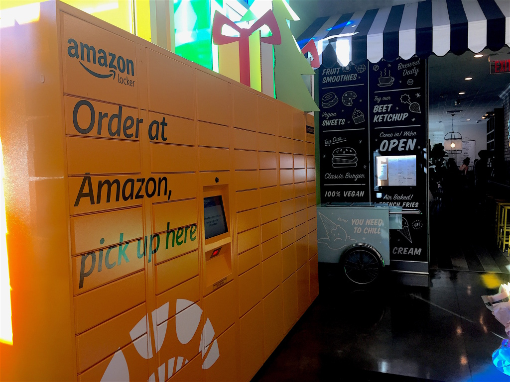 Amazon now offers customers in some areas the option of receiving their items more quickly by picking them up at a locker, like these in a Whole Foods in Silver Lake. This saves delivery trucks the drive to your doorstep.