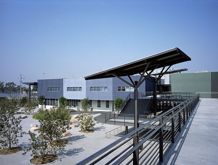 A solar installation at L.A. Unified's Clinton Middle School.