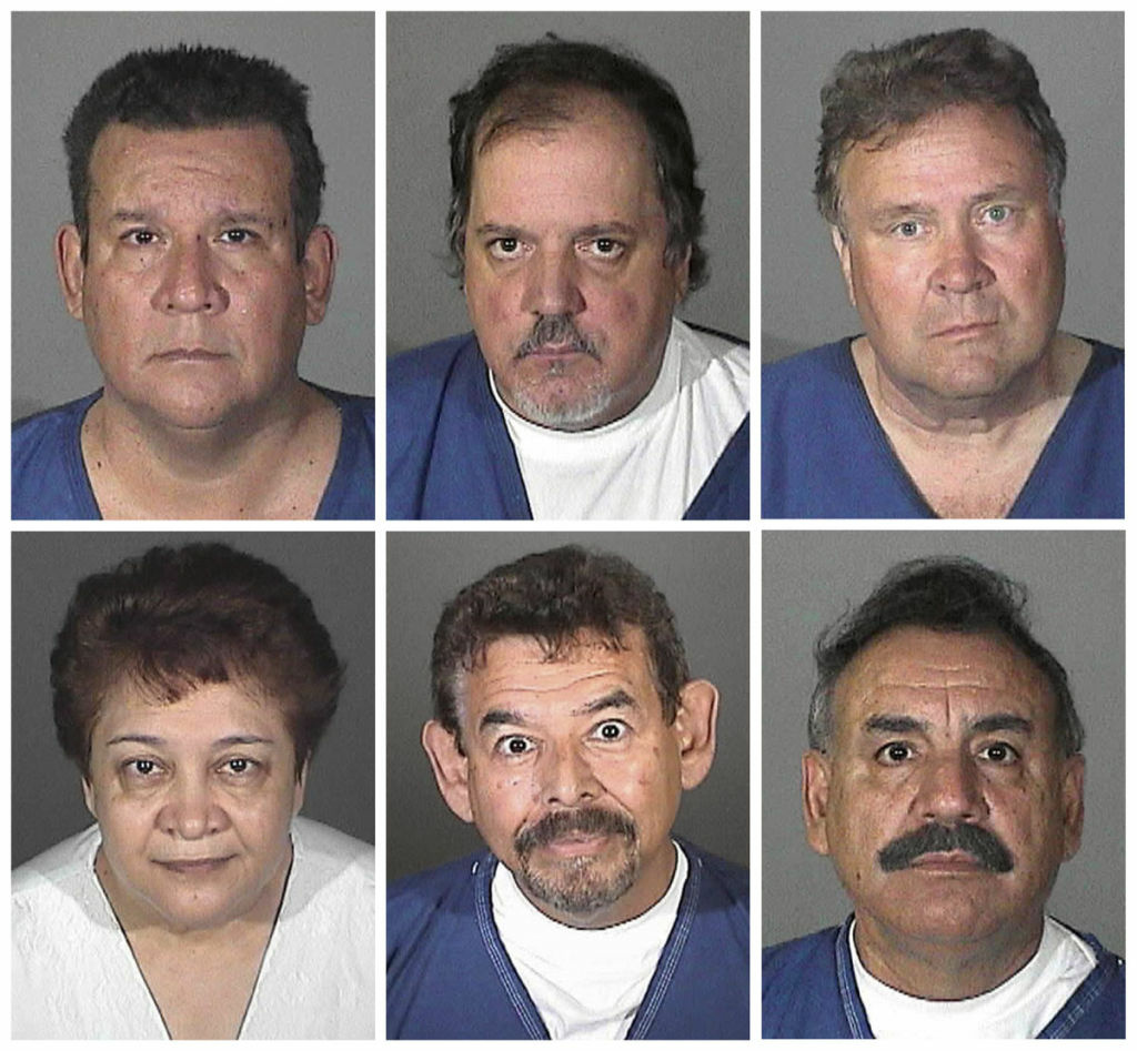 This combo made with booking photos provided by the Los Angeles County Sheriff's Department shows from top left, Luis Artiga, Victor Bello, George Cole, and Oscar Hernandez; from bottom left, Teresa Jacobo, George Mirabal, Robert Rizzo, and Peir'Angela Spaccia. The eight are charged with taking more than $5.5 million from the working-class suburb of Bell, Calif. in a scandal that triggered nationwide outrage and calls for more transparency in government. (AP Photo/Los Angeles County Sheriff's Department)