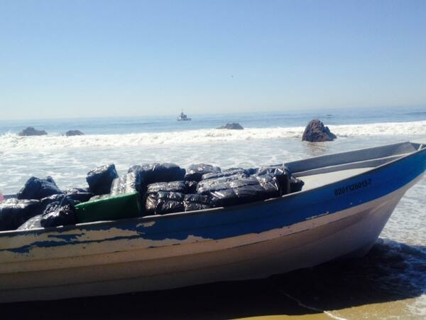 A boat filled with marijuana washed up in Malibu Monday, April 7.