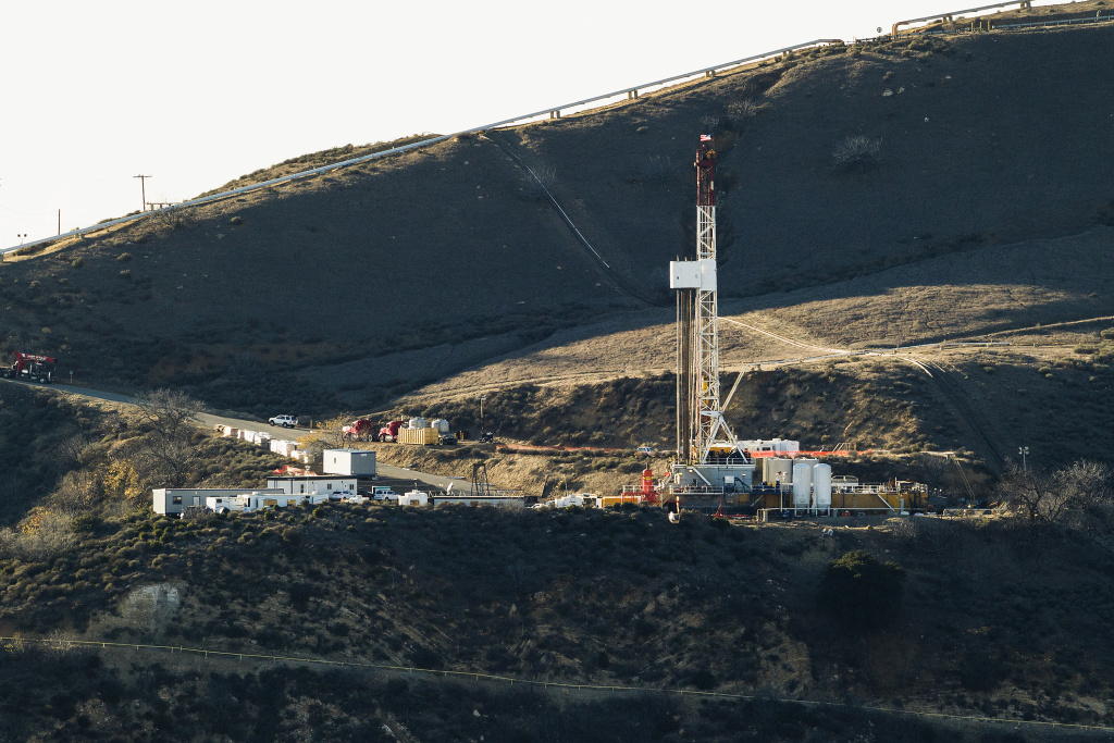 Equipment and machinery is seen on a ridge above a natural gas well at Southern California Gas Company's Aliso Canyon facility near Porter Ranch.