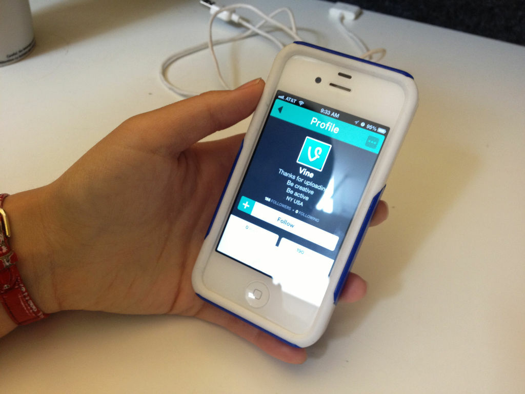 The new Vine app is seen on an iPhone.