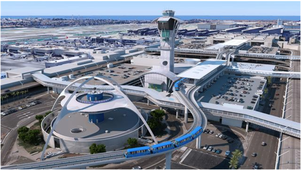 A rendering of the Automated People Mover shows the elevated tramway entering the terminals at LAX.