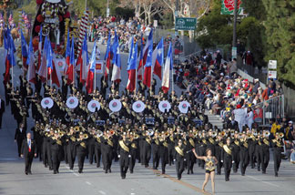 Members of the Conroe High School Marching Band from Conroe Texas, move along Colorado Blvd. during the 121st Rose Parade in Pasadena.