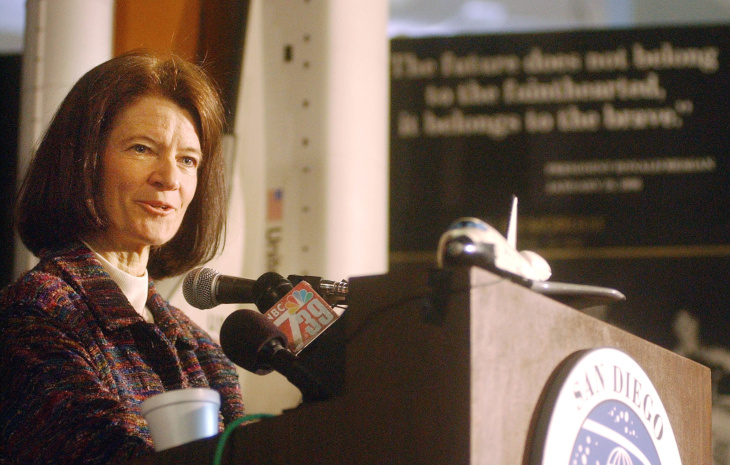 Dr. Sally Ride, the first U.S. woman to travel into space, speaks to the media at the San Diego Aerospace Museum February 7, 2003 in San Diego. Ride gave her condolences to the families of the lost space shuttle Columbia astronauts and spoke about the future of the space program.