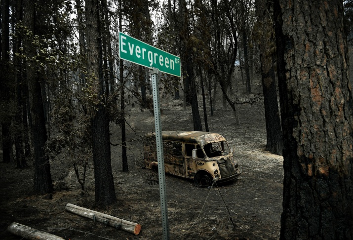 The ruins homes that burned in the Valley Fire are seen on September 15, 2015 in Middletown, California.