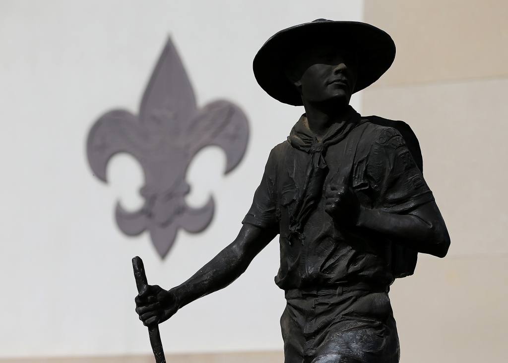 A general view of a statue outside the National Scouting Museum on February 4, 2013 in Irving, Texas. The BSA announced Monday, July 13, 2015, that it had unanimously adopted a resolution that would allow gay adults to serve as scout leaders, ending a longstanding ban on gay leaders in the organization.