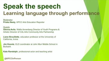 Speak the speech: Learning language through performance