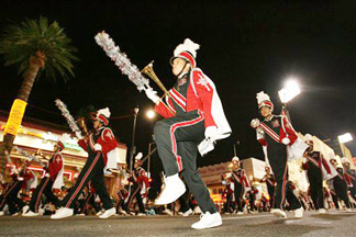 The Banning High School marching band performs during the Hollywood Christmas Parade Sunday, Nov 26, 2006, in the Hollywood section of Los Angeles.