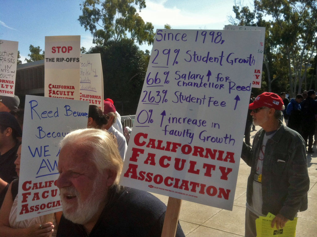 Faculty union members staged an informational picket last November at Cal State Dominguez Hills ahead of a planned one-day strike regarding faculty pay.