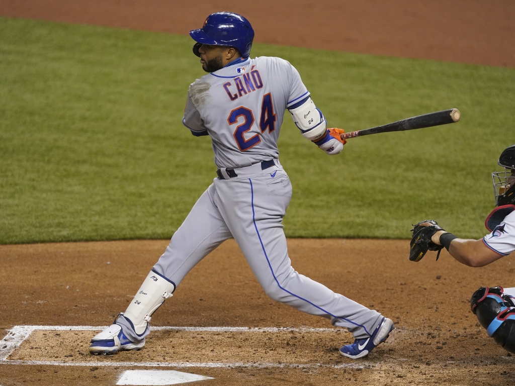 Robinson Cano of the New York Mets bats against the Miami Marlins on August 17, 2020. MLB banned Cano for next season following a positive steroid test.