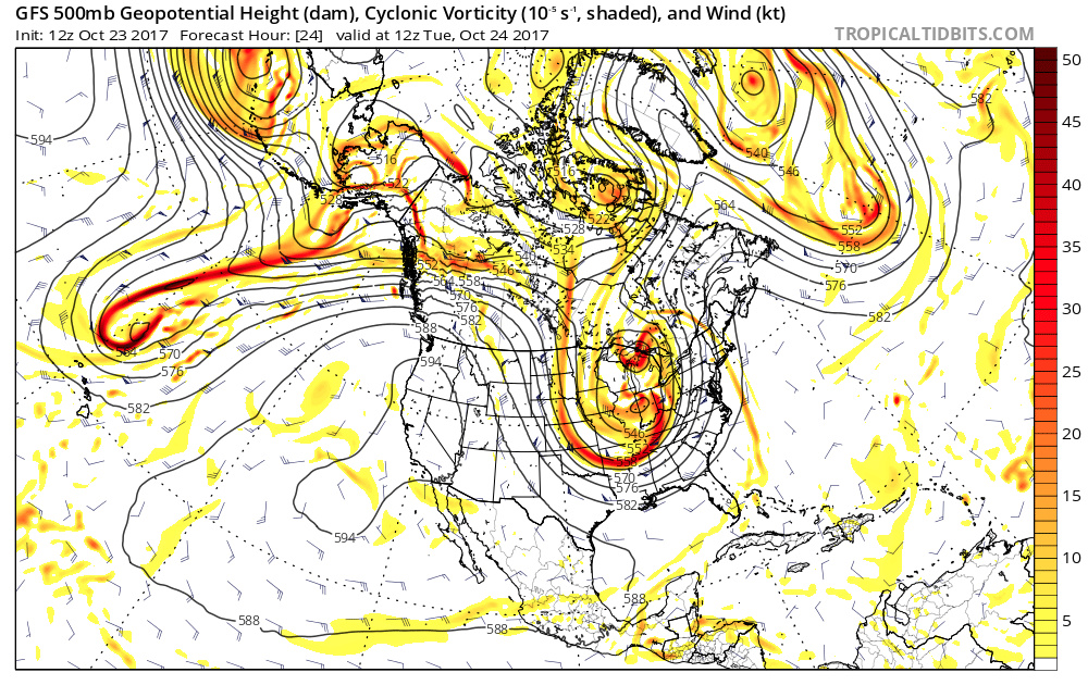 A high pressure ridge over the western U.S.