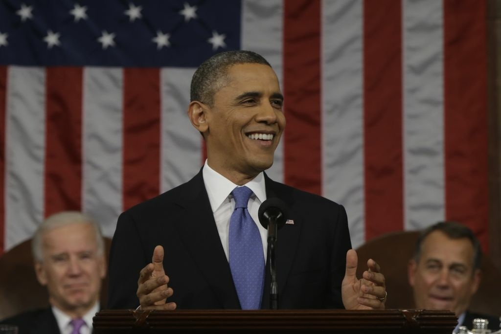 Obama delivers the State of the Union address on February 12, 2013.