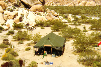 The community tent, which shelters participants in the Passover Seder in the desert, held for 16 years now in the Southern California desert.