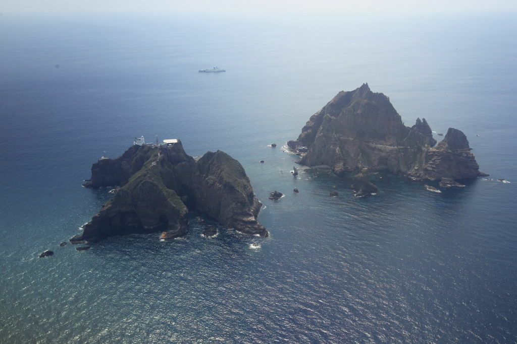 An aerial view of the remote islands disputed with Japan, known as Dokdo in Korea and Takeshima in Japan, in the Sea of Japan (East Sea) on August 10, 2012.