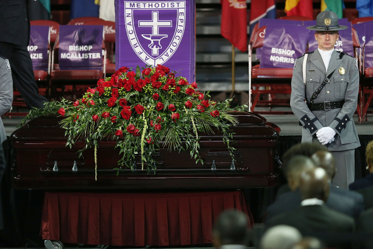 President Barack Obama speaks during services honoring the life of the Rev. Clementa Pinckney, on June 26, 2015, at the College of Charleston TD Arena in Charleston, S.C. Pinckney was one of the nine people killed in the shooting at Emanuel AME Church last week in Charleston.