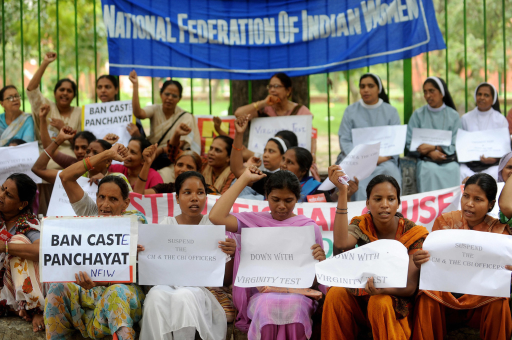 Activists in India protested against virginity tests in the states of Madhya Pradesh and Kerala in 2009.