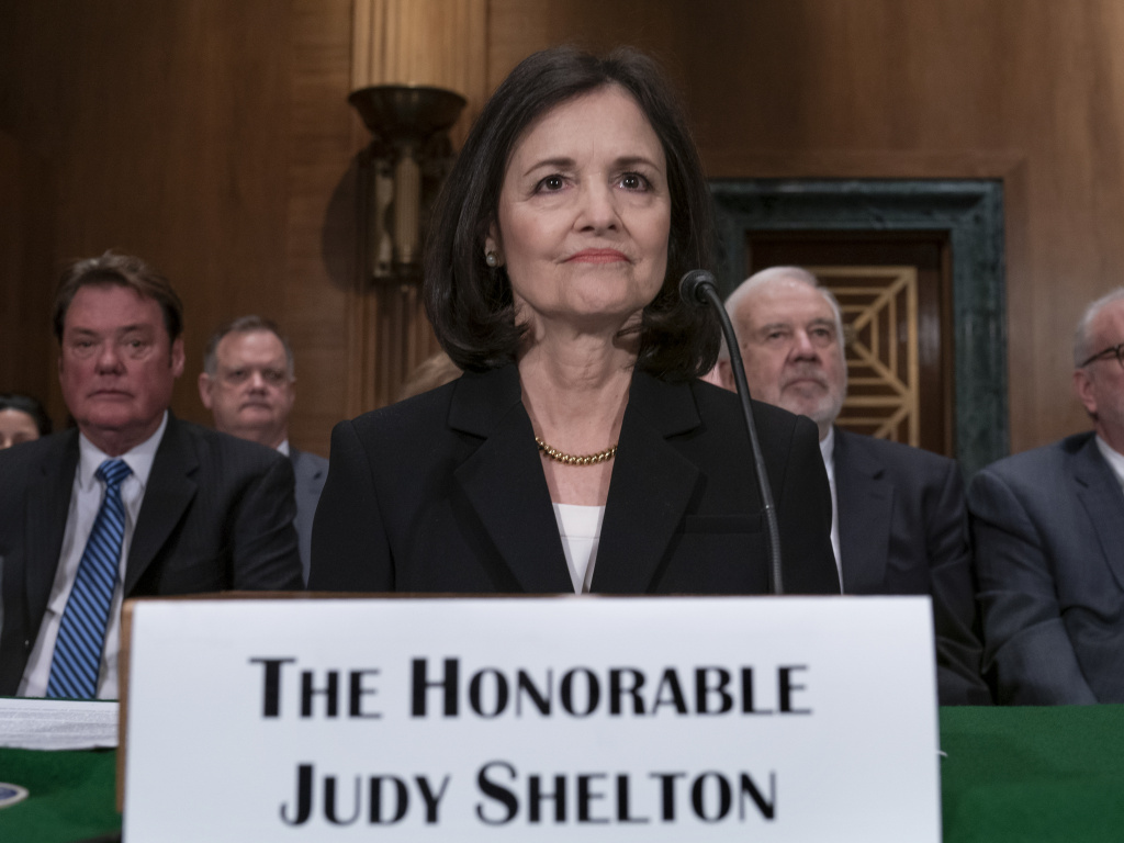 Judy Shelton appears before the Senate Banking, Housing, and Urban Affairs Committee in February. President Trump's nominee to the Federal Reserve has said she supports the gold standard and has questioned the mission of the central bank.