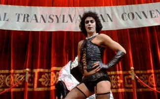 Tim Curry onstage in Rocky Horror.