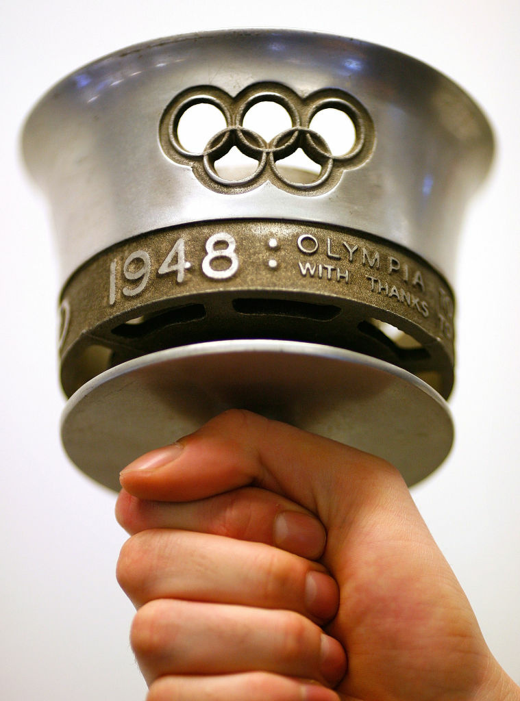 A torch from London's 1948 Olympics is displayed on February 26, 2008 in London.