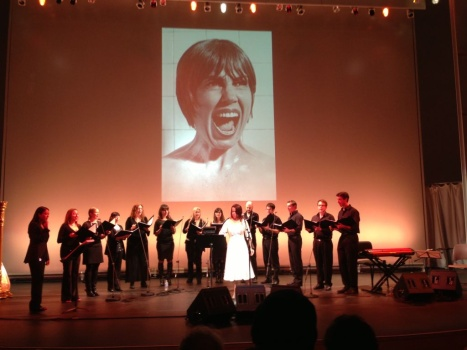 Petra Haden and choir at the Getty's Harold M. Williams Auditorium, Jan. 26, 2013