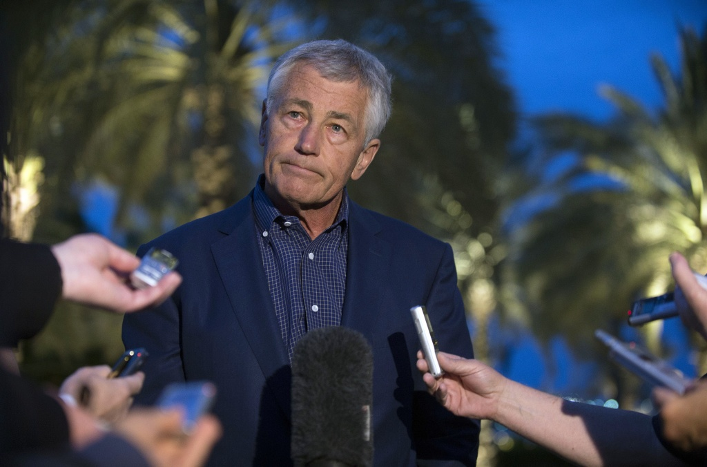 U.S. Secretary of Defense Chuck Hagel speaks with reporters after reading a statement on chemical weapon use in Syria during a press conference  on April 25, 2013 in Abu Dhabi, United Arab Emirates.