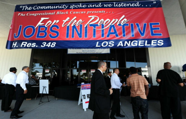 A jobs fair on Los Angeles sponsored by the Congressional Black Caucus. African American unemployment in the L.A. was second only to Las Vegas in severity in 2011.