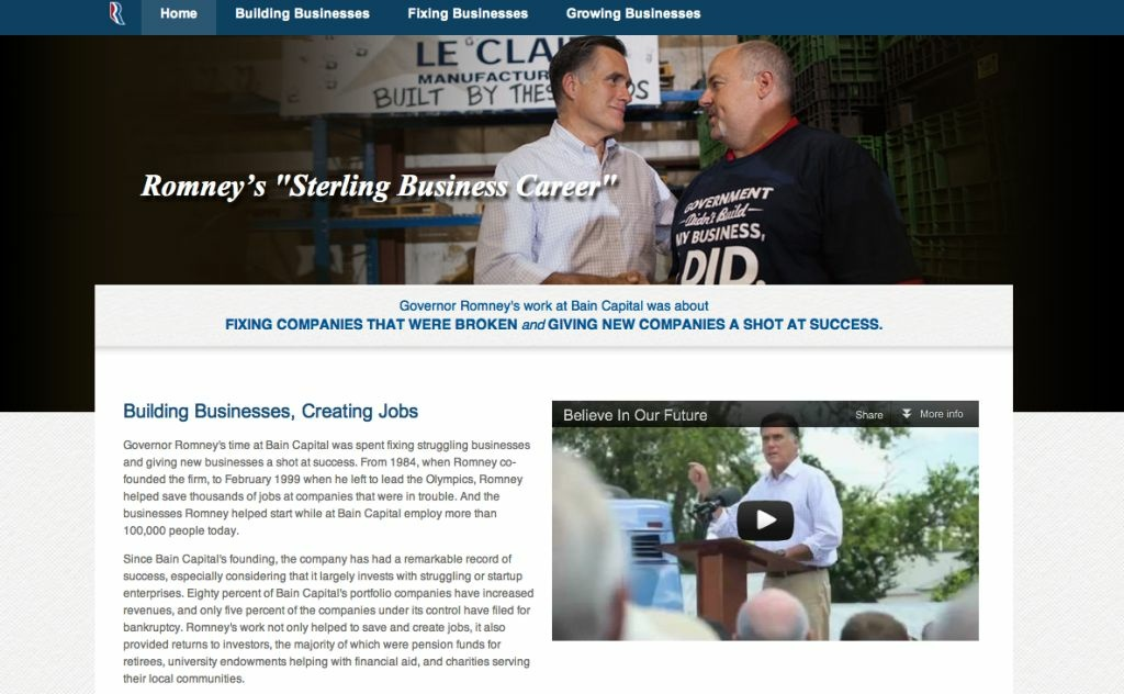The Romney/Ryan campaign has rolled a new website that promotes Romney's business achievements.