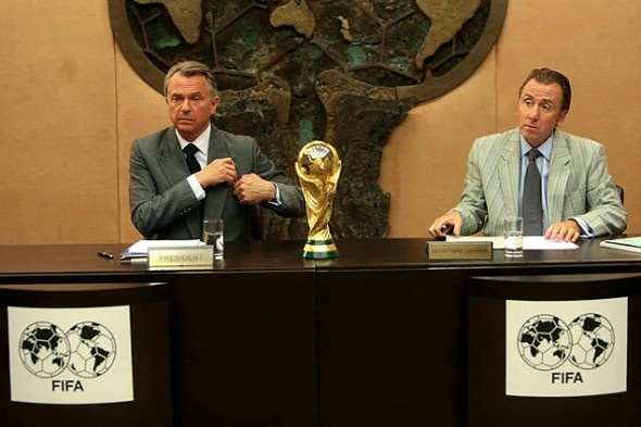 Sam Neill, left, plays Joao Havelange and Tim Roth is Sepp Blatter in the FIFA-financed film,