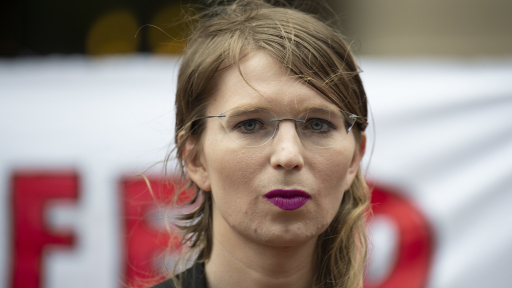 Former military intelligence analyst Chelsea Manning speaks to reporters in Virginia on Thursday. After refusing to testify before a grand jury, U.S. District Judge Anthony Trenga said she was in contempt of court and ordered her back to jail.