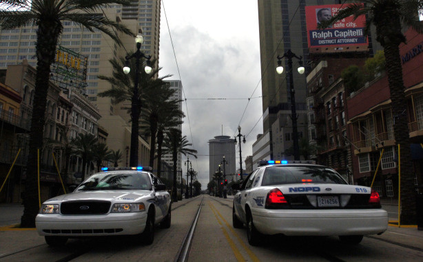 File photo of two police cars are in position on an nearly empty street on August, 31, 2008 in New Orleans, Louisiana.