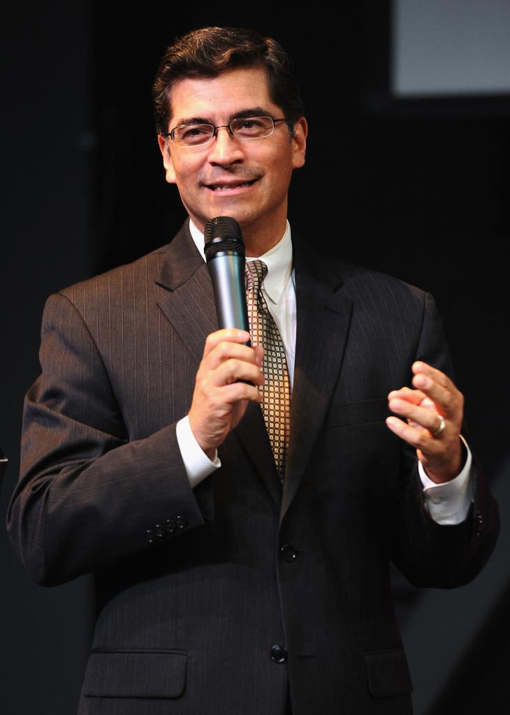 Congressman Xavier Becerra speaks at a reception at Inner City Arts on October 20, 2010 in Los Angeles, California.