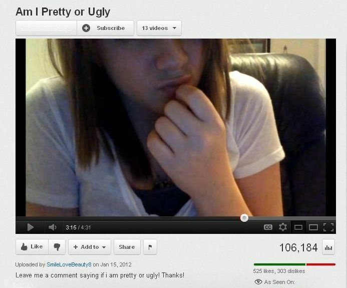 Screen shot taken from YouTube on February 27, 2012, in which the 13-year-old user asks her audience