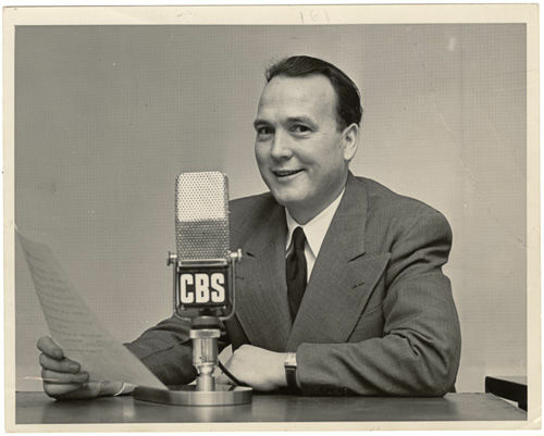 John Henry Faulk at microphone, CBS set