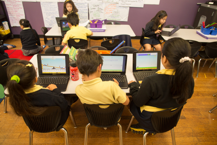 Students use iPads for instruction at Komienza Community Prep in Huntington Park.