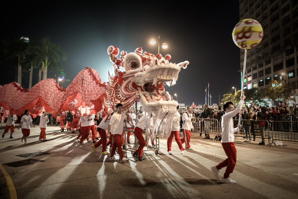 Performers display a dragon dance during a Chinese New Year parade in Hong Kong on January 31, 2014. Chinese communities across Asia have come together to usher in the Year of the Horse.